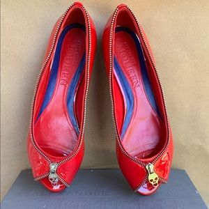 Alexander McQueen red peep toe flats with zipper